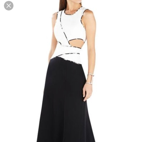 BCBGMaxAzria Dresses   Nikkole Colorblock Cutout Gown   Poshmark